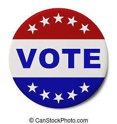 Vote Button - Round Patriotic Vote Button Isolated on White...