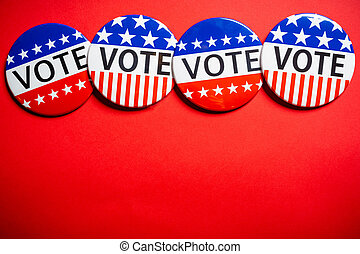 Vote buttons on red background with copy space. Election theme