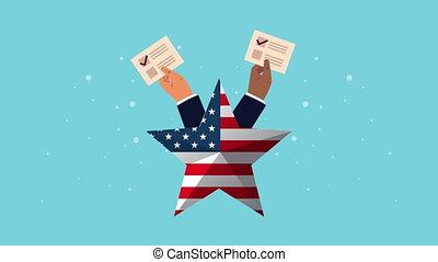vote, cartes, mains, animation, élection, démocratique, étoile, usa, levage, jour