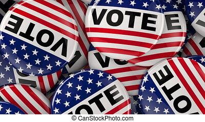 vote, chariot, politique, bouton, coup