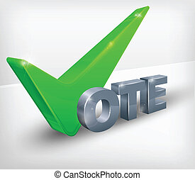Vote check mark on white - Green vote check mark isolated on...