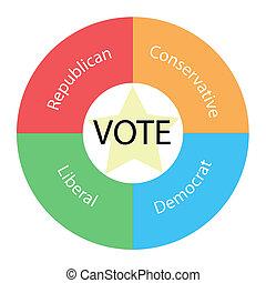 vote, circulaire, concept, à, couleurs, et, étoile