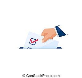vote, concept., électeur, lancement, élection