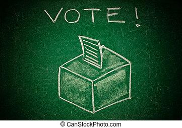 Vote concept; handdrawn ballot box on a green chalkboard