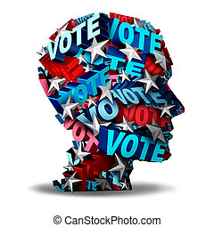 Vote concept and voting symbol as a group of 3D illustration text and stars representing a voter or candidate for an election in the USA as an icon for the American voters.