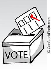 vote, croquis, boîte, main, dessiner