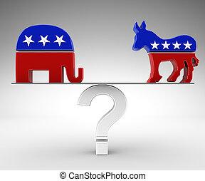 vote, démocrate, républicain, ou