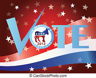 Vote Democrat Check Mark with US Flag - Vote Check Mark Text...