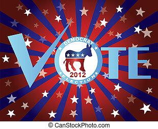 Vote Democrat Red White and Blue Stars Background