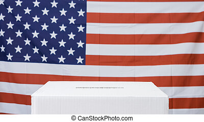 vote, drapeau, boîte, américain