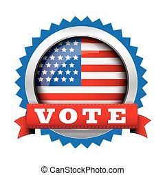 Vote - election badge with USA flag button