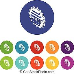 Vote emblem icons set vector color
