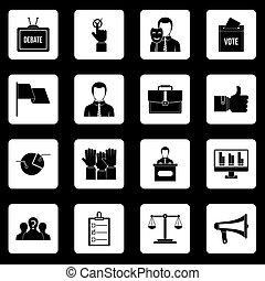 vote, ensemble, icônes, vecteur, élection, carrés