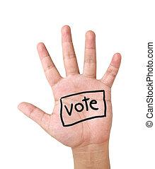 vote, exposition, haut, main