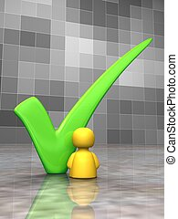 Vote for me - Icon person next to a big green tick - 3D