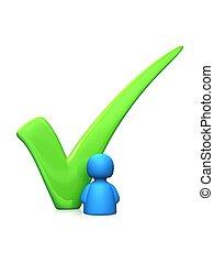Vote for me - white - Icon person next to a big green tick...