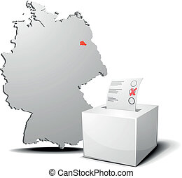 vote germany berlin - detailed illustration of ballot box in...