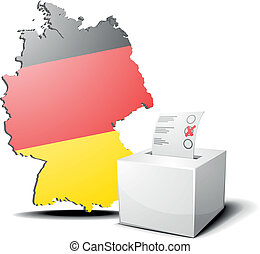 vote germany - detailed illustration of ballot box in front...