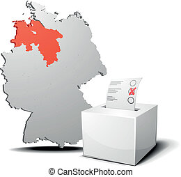 vote germany Lower Saxony - detailed illustration of ballot...