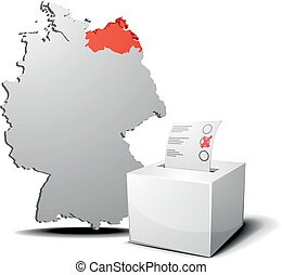 detailed illustration of ballot box in front of a 3D outline of Germany with a red marked province Mecklenburg-West Pomerania