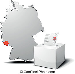 vote germany Saarland - detailed illustration of ballot box...