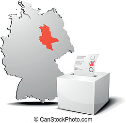 vote germany saxony-anhalt - detailed illustration of ballot...