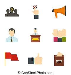 Vote icons set, flat style - Vote icons set. Flat style set...