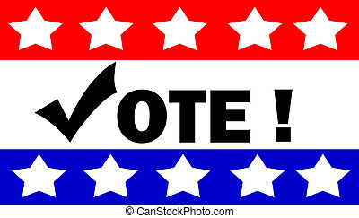 vote illustration on red, white, and blue background