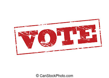 Vote - Rubber stamp with word vote inside, vector...