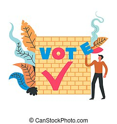 Vote man standing by wall with fonts and foliage