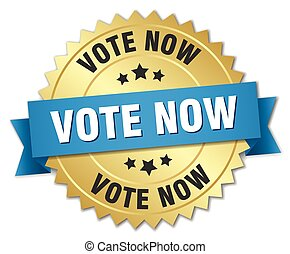 vote now 3d gold badge with blue ribbon