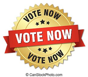 vote now 3d gold badge with red ribbon
