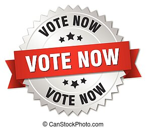 vote now 3d silver badge with red ribbon
