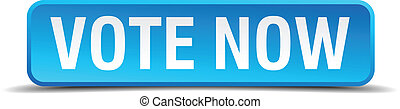 Vote now blue 3d realistic square isolated button