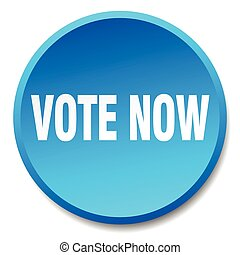 vote now blue round flat isolated push button
