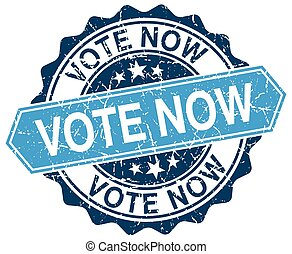 vote now blue round grunge stamp on white