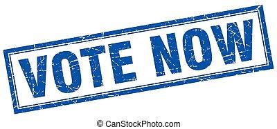 vote now blue square grunge stamp on white