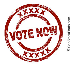 Vote now - A stylized red stamp that shows the term vote...