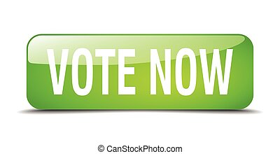 vote now green square 3d realistic isolated web button