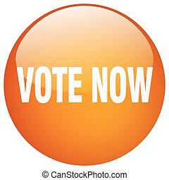 vote now orange round gel isolated push button