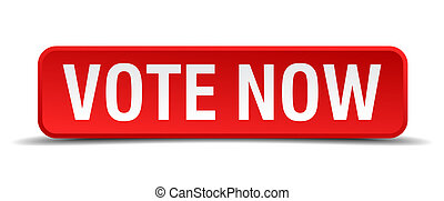 Vote now red 3d square button isolated on white