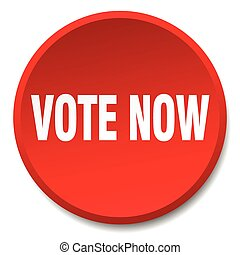 vote now red round flat isolated push button