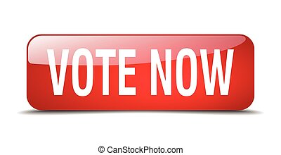 vote now red square 3d realistic isolated web button