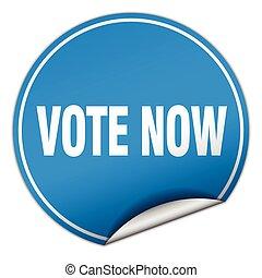 vote now round blue sticker isolated on white