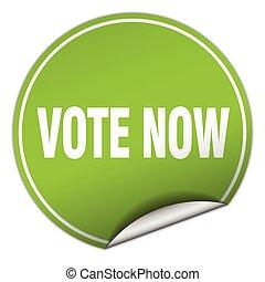 vote now round green sticker isolated on white