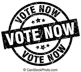 vote now round grunge black stamp