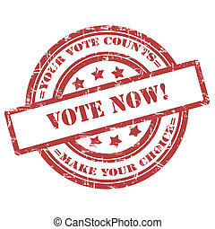 Vote Now. Rubber Stamp, Grunge, Circle - Vote Now. Rubber...