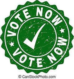Vote Now Scratched Stamp with Tick