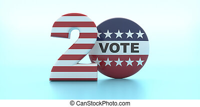 Vote on 2020 US America election. VOTE on round pin badge against pastel blue background. 3d illustration