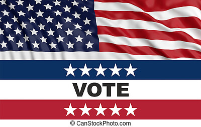 Vote on US America election day concept. VOTE text and american flag background. 3d illustration